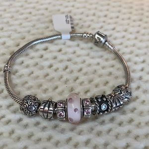Vintage Pandora Sterling Silver Bracelet W/Charms